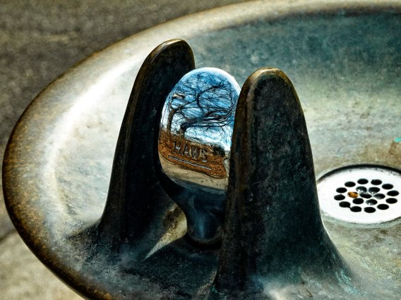 Drinking fountain with reflection